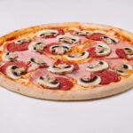 Salami, Ham, And Mushrooms Pizza
